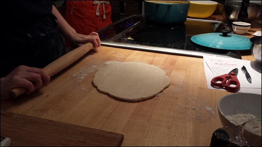 rolling out hte dough